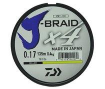 Леска плетеная Daiwa J-Braid X4 135м 0,17мм желтая - Daiwa