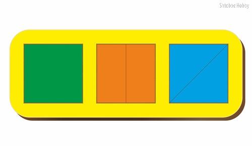 Рамка-вкладыш Сложи 3 квадрата, уровень 1 - WOODLAND