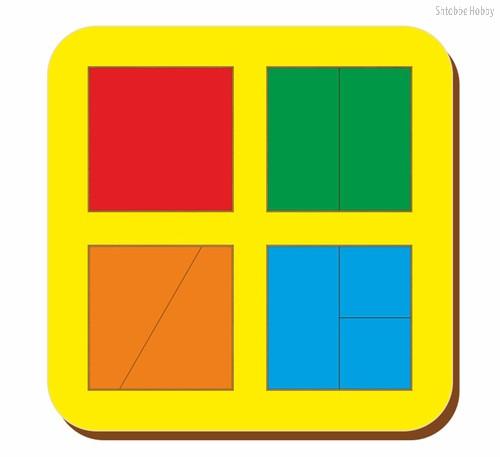 Рамка-вкладыш Сложи квадрат 4 квадрата,уровень 1 - WOODLAND
