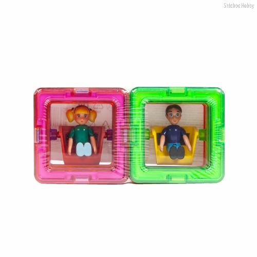 Магнитный конструктор MAGFORMERS 713123 10 квадратов, 1 мальчик, 1 девочка - Magformers