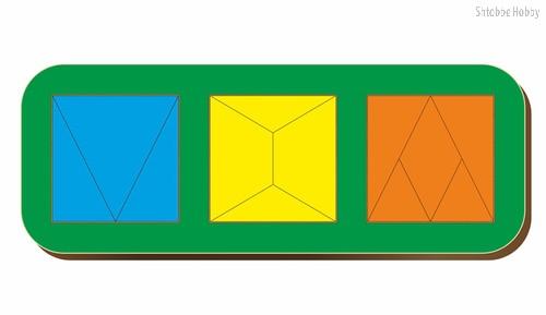 Рамка-вкладыш Сложи 3 квадрата, уровень 2 - WOODLAND