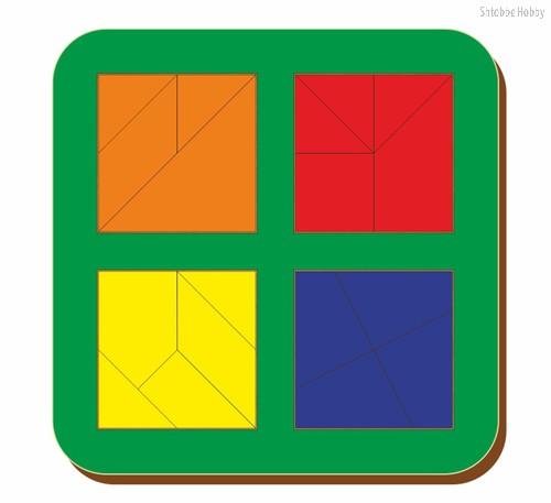 Рамка-вкладыш Сложи квадрат 4 квадрата, уровень 3 - WOODLAND