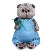 Мягкая игрушка BUDI BASA Ks25-142 Басик в голубом комбинезоне с цветком 25см - Буди Баса