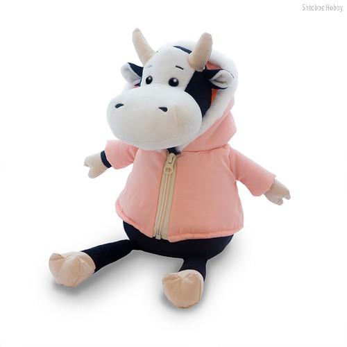 Мягкая игрушка MAXITOYS LUXURY MT-MRT022022-28 Коровка Маша в розовой куртке 28 см - Maxitoys Luxury
