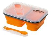 Контейнер для еды Tramp 900мл силикон, 2 отсека, с ловилкой оранжевый TRC-090 - Tramp