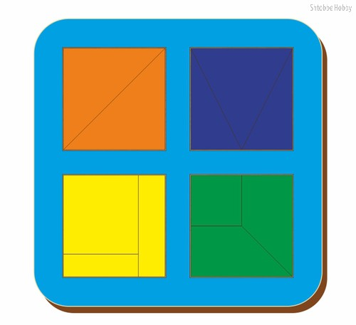 Рамка-вкладыш Сложи квадрат 4 квадрата, уровень 1 - WOODLAND