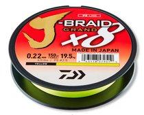 Леска плетеная Daiwa J-Braid Grand X8 135м 0,22мм (19,5кг) желтая - Daiwa