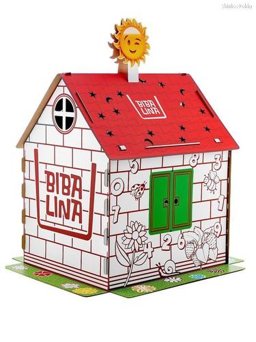 Картонный домик BIBALINA BBL003-002 MAX, с английским алфавитом и наклейками - Bibalina