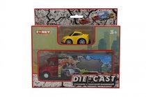 Набор FUNKY TOYS FT61053 грузовик + машинка die-cast желтая, спусковой механизм 1:60 - Funky Toys