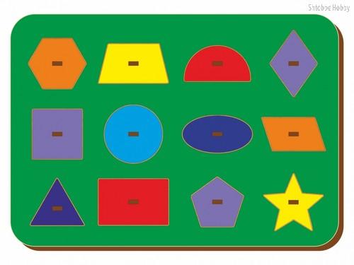 Рамка-вкладыш Монтессори геометрия 2 - WOODLAND