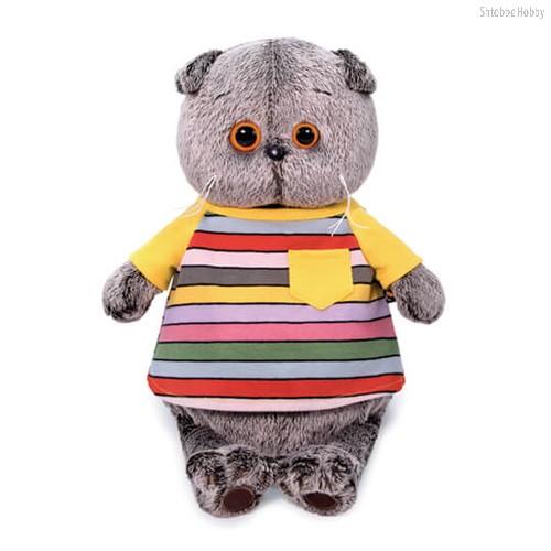 Мягкая игрушка BUDI BASA Ks22-147 Басик в полосатой футболке с карманом 22 см - Буди Баса