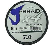 Леска плетеная Daiwa J-Braid X4 135м 0,07мм зеленая - Daiwa