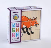 """Кубики """"Животные леса"""" 9 шт - Томик"""