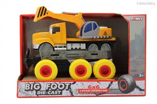 Машина пластиковая FUNKY TOYS FT61092 Экскаватор с краш-эффектом, кабина die-cast, 6*6 - Funky Toys