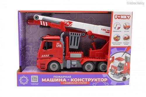 Машина пластиковая FUNKY TOYS FT61113 пожарная (конструктор) с выдвижной стрелой 1:12 - Funky Toys