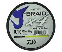 Леска плетеная Daiwa J-Braid X4 135м 0,10мм желтая - Daiwa