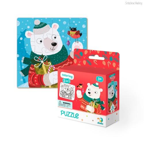 Пазл DODO 300355 раскраска Рождественский мишка - Dodo