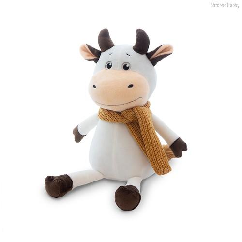Мягкая игрушка MAXITOYS LUXURY MT-MRT022024-28 Бычок Афоня в шарфе 28 см - Maxitoys Luxury