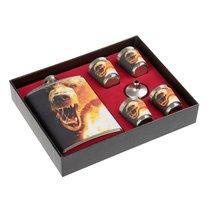 Фляжка и набор стопок Helios Настоящему мужику Медведь 240 мл HS-N-RM-B-A21 - Тонар