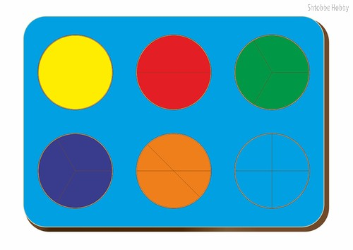 Рамка-вкладыш Дроби 6 кругов, уровень 1 - WOODLAND