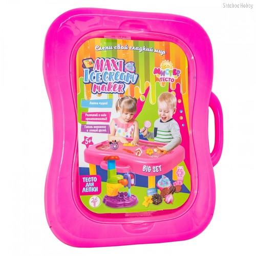 Масса для лепки STRATEG 71308 в чемодане Maxi Ice cream maker, розовый - Strateg