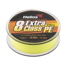 Шнур плетеный Helios Extra Class 8 PE Braid 0,20мм 135м F.Yellow HS-8PEY-20/135 Y - Тонар