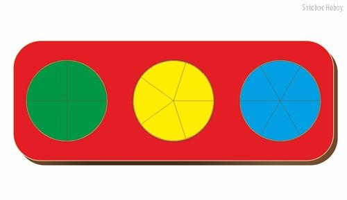 Рамка-вкладыш Дроби 3 круга, уровень 1 - WOODLAND