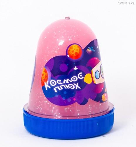 Слайм ПЛЮХ 1127 Космос розовый светящийся с блестками, 130 гр - Плюх
