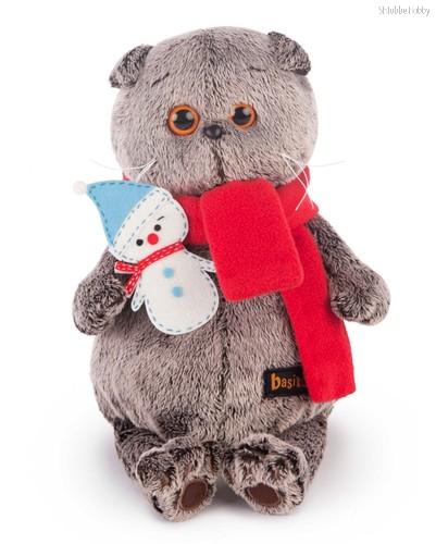 Басик в шарфике со снеговичком, цвет серый - Буди Баса