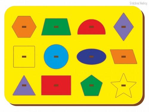 Рамка-вкладыш Монтессори геометрия 1 - WOODLAND