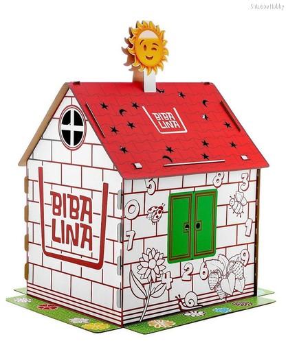 Картонный домик BIBALINA КДР03-003 MAX, с русским алфавитом и наклейками - Bibalina