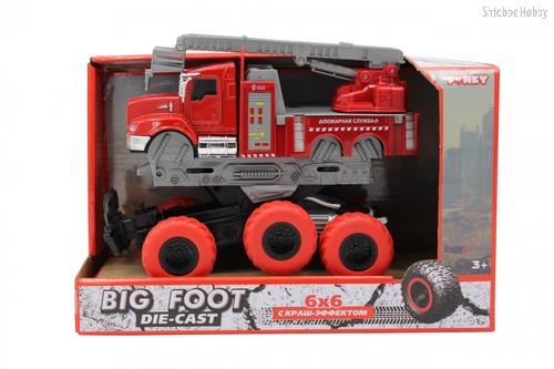 Машина пластиковая FUNKY TOYS FT61094 пожарная с выдвижной лестницей с краш-эффектом, кабина die-cast, 6*6 - Funky Toys