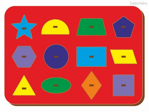 Рамка-вкладыш Монтессори геометрия 3 - WOODLAND