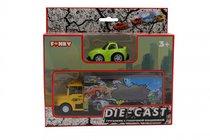 Набор FUNKY TOYS FT61055 грузовик + машинка die-cast зеленая, спусковой механизм 1:60