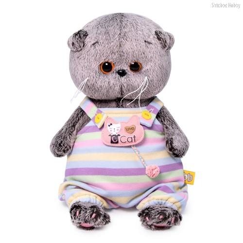 Мягкая игрушка BUDI BASA BB-061 Басик BABY в полосатом комбинезончике 20 см - Буди Баса