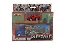Набор FUNKY TOYS FT61054 грузовик + машинка die-cast красная, спусковой механизм 1:60
