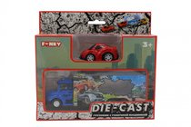 Набор FUNKY TOYS FT61054 грузовик + машинка die-cast красная, спусковой механизм 1:60 - Funky Toys