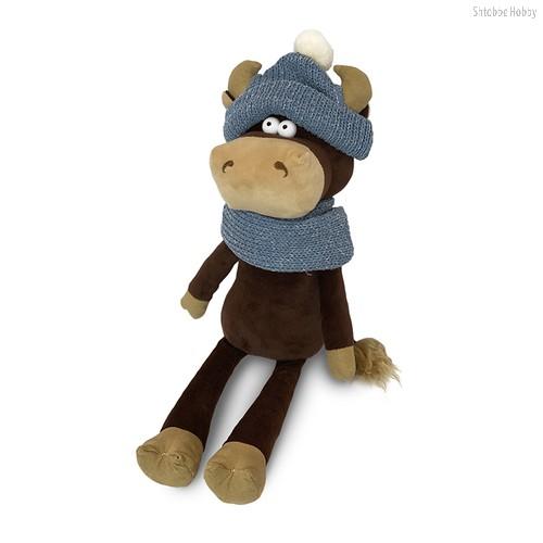 Мягкая игрушка MAXITOYS LUXURY MT-MRT022005-28 Бычок Василий в шарфе и шапке 28 см - Maxitoys Luxury