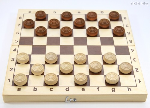 Настольная игра ДЕСЯТОЕ КОРОЛЕВСТВО 2841 Шашки деревянные (29см х 29см) - Десятое королевство