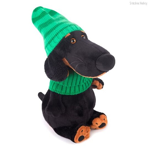 """Мягкая игрушка Budi Basa """"Ваксон в зеленой шапке и шарфе"""", цвет черный - Буди Баса"""