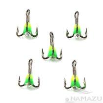 Крючок тройник Namazu светофор с каплей и камнем № 14, YG (5 шт.) N-HTL14YG - Namazu