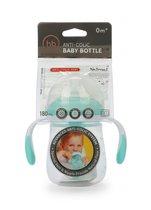 Бутылочка HAPPY BABY 10019A антиколиковая с ручками и силиконовой соской aqua, 180 мл. - Happy Baby