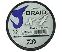 Леска плетеная Daiwa J-Braid X4 135м 0,21мм зеленая - Daiwa