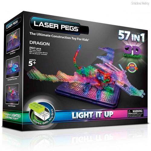Светодиодный конструктор Дракон с 3D панелью 57 в 1 - Laser Pegs