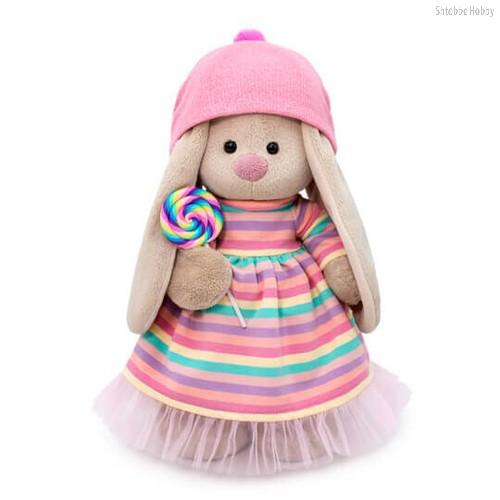 Мягкая игрушка BUDI BASA StM-388 Зайка Ми в полосатом платье с леденцом 32 см - Буди Баса