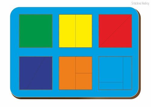Рамка-вкладыш Сложи 6 квадратов, уровень 1 - WOODLAND